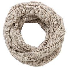 Buy John Lewis Cable Knit Snood, Cream online at JohnLewis.com - John Lewis