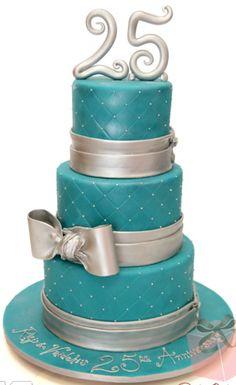 colored 25th anniversary cake