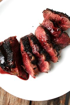 Seared duck breast with port wine reduction