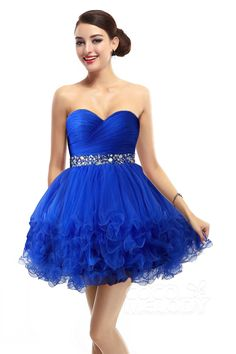 Ball Gown Short-Mini Royal Blue Homecoming Dress #cocomelody