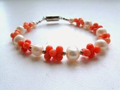Pink Coral Bracelet with white freshwater pearls pink by SanaGem, $24.00