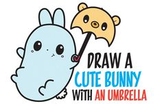 How to Draw a Cute Kawaii Bunny Rabbit Holding a Bear Umbrella Easy Step by Step Drawing Tutorial for Kids - How to Draw Step by Step Drawing Tutorials Easy Animal Drawings, Cartoon Drawings Of People, Animal Sketches, Easy Drawings, Draw Cute Baby Animals, Cute Animals With Funny Captions, Cute Animals Puppies, Kawaii Bunny, Cute Bunny