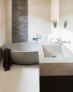 Bathroom ideas and trends - Better Homes and Gardens - Love this wall w stone stripe