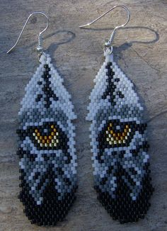 Wolf Eyes In Feather Earrings Hand Made Seed Beaded by wolflady, $25.00