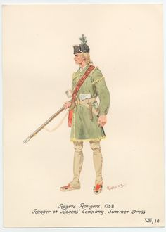 Rogers Rangers, Ranger of Rogers' Company. American Revolutionary War, American War, Early American, Native American, Rangers, Seven Years' War, American Frontier, Hunting Shirts, Napoleonic Wars