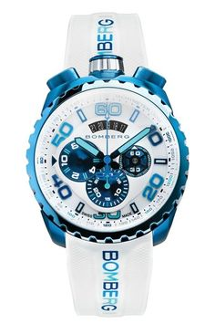 Bs45chpbl.049 2.3 white blue front 1 Fine Watches, Best Watches For Men, Men's Watches, Luxury Watches For Men, Cool Watches, Fashion Watches, Jewelry Watches, Wrist Watches, Casual Watches