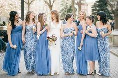 Mismatch dresses. Juniors in flowered print.