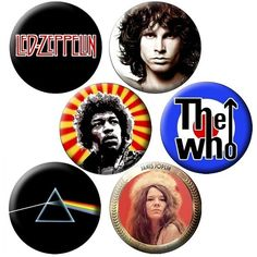 CLASSIC ROCK PIN PACK NUMBER 1 - 6 KEEPSAKE ROCK BUTTONS - PACK of 6... ($9.99) ❤ liked on Polyvore
