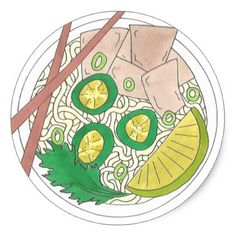 PHO Vietnamese Food Chicken Noodle Soup Chopsticks Classic Round Sticker  $5.50  by rebeccaheartsny  - custom gift idea