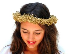 Golden  crown Gold Spring wedding hair by BlackSwanFeather on Etsy