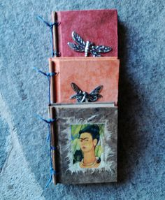 Hand bound Mexican books, with twigs on the binding.
