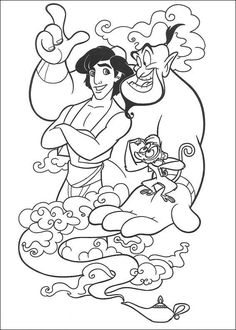 The Genie Abu And Aladdin Coloring Page