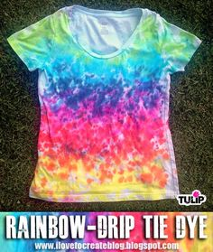 Such a fun tie dye idea! Make a rainbow drip tie dye shirt - A Little Craft In Your Day #teencraft