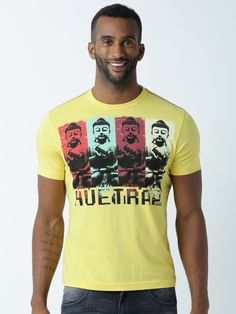 58c0cd3b17d Buy Huetrap Men Yellow Printed Regular Fit Round Neck T Shirt - Tshirts for  Men