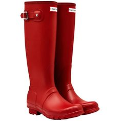 Women's Hunter Original Tall Wellington Boots ($98) ❤ liked on Polyvore featuring shoes, boots, wellington boots, short boots, tall rain boots, knee-high waterproof boots and green knee high boots