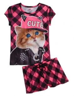 Cute Cat Pajama Set | Justice