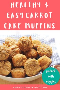 Best Healthy Carrot Cake Muffins (SO Easy & Vegan Option!) Packed with carrots, whole grains, and protein, these Carrot Cake Muffins are a healthy way to start the day. You can even make them ahead of time! Easy Carrot Cake, Healthy Carrot Cakes, Carrot Recipes, Baby Food Recipes, Cake Recipes, Healthy Carrot Muffins, Kid Recipes, Muffin Recipes, Toddler Meals