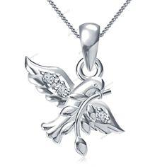 "Round Cut Diamond 925 Silver Bird & Leaf Women's Pendant 18"" Chain Free…"