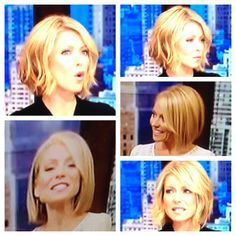 Kelly Ripa bob hair cut. Super cute, stylish & fun! For Lisa Olszewski Motte. This style would look great on you!