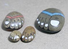 Original hand painted stone stone