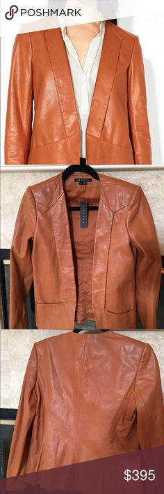 Theory leather jacket Brand new. Color is Autumn rust. Slit pockets in front. Two slits in back. 100% lamb leather. Fully lined. Theory Jackets & Coats Blazers