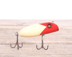 Red White Fishing Lure / Old Wooden Fishing Lures / Vintage Fishing Lure…