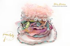 Fairy Princess Fiber Art Yarn. 16 Yard Novelty Yarn, Ribbon and Art Fiber Bundle. by Panachely on Etsy
