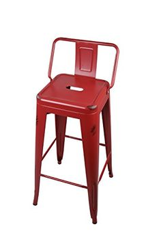 GIA Low Back Metal Barstool 30 Bar Height1 PACK  Worn Red  Light weight easy assemble and stackable ** You can find out more details at the link of the image. (This is an affiliate link) #MinimalistKitchenDecor
