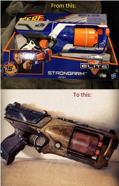 Nerf Strongarm mod - hand-painted by Avalyn #avalynartistry #steampunk