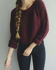 Burgundy sweater and hair braids