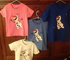 DIY Olaf shirts from coloring page image.  Fun!!