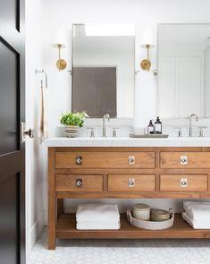 Pottery Barn Bathroom, Wooden Bathroom Vanity, Floating Bathroom Vanities, Wood Vanity, Upstairs Bathrooms, Hall Bathroom, Bathroom Renos, Master Bathroom, Earthy Bathroom