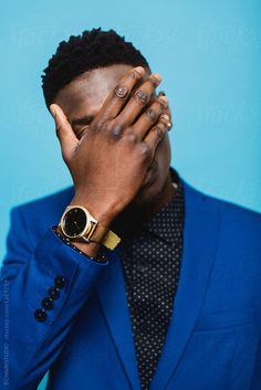 Portrait of a cool black man hiding his face. by BONNINSTUDIO - Man, Portrait - Stocksy United Black Boys, Black Men, Justin Photos, Blue Shades Colors, Hidden Face, Black Families, Male Poses, Beautiful Boys, Mens Fashion