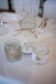My home made tea light jars. Perfect as pretty wedding decorations or for the home. Love crafting