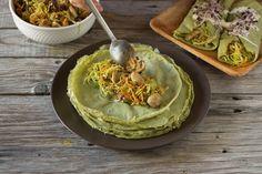 Receita de crepes de espinafres com recheio de legumes, vegan, nutritiva e sem gluten perfeita para dias de sol e de primavera.