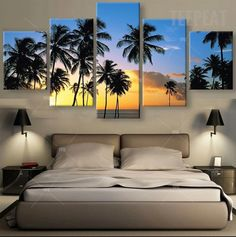 Coconut Trees At The Beach Painting - 5 Piece Canvas