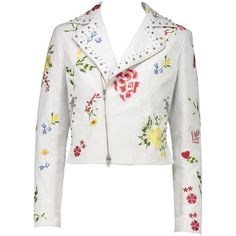 Flower Print Leather Jacket ($1,195) ❤ liked on Polyvore featuring outerwear, jackets, studded leather jacket, floral embroidered leather jacket, biker jackets, motorcycle jacket and studded moto jacket