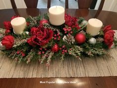Christmas Centerpiece / XL Christmas Centerpiece/ Holiday Centerpiece / Mantle Decor / Red and Silver Centerpiece / Christmas Table Decor - christmas dekoration Christmas Candle Decorations, Christmas Flower Arrangements, Holiday Centerpieces, Christmas Candles, Outdoor Christmas, Rustic Christmas, Christmas Wreaths, Silver Centerpiece, Floral Arrangements