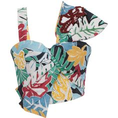 PatBo Printed Tropical Vintage Bow Top ($695) ❤ liked on Polyvore featuring tops, white crop top, one sleeve crop top, bow top, off one shoulder tops and one shoulder tops