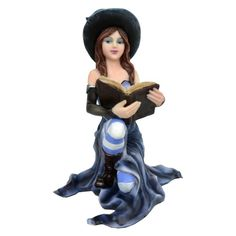 Constance is a figurine by Nemesis Now depicting a stunning witch knelt down on one knee holding her book of spells in her hands. She wears a blue gown, blue and white stripy stockings, a hat and fingerless arm gloves 14cm. Product Number: D1219D5.