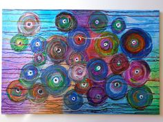 Abstract Circles Textured Original Acrylic Canvas Painting  36x24  Beautiful Colors and Texture Glossy Finish