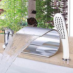 Modern Romeins bad Waterval with Keramische ventiel Single Handle drie gaten for Chroom Badrandkranen