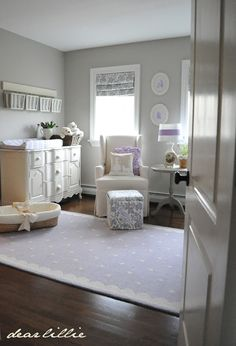 Everlys Nursery by Dear Lillie. Love the soft colors in this baby girl nursery with pops of LIlac. Baby Bedroom, Nursery Room, Girl Nursery, Lamb Nursery, Bedroom Kids, Nursery Rhymes, Bedroom Decor, Lilac Nursery, Nursery Neutral