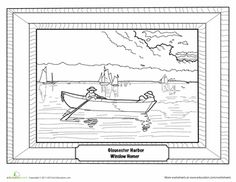 Winslow Homer - Gloucester Harbor Coloring Page | Education.com