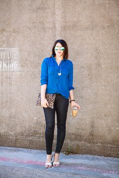 chambray, leopard, iced coffee
