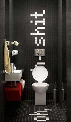 Aménagement WC peinture grise pour agrandir l\'espace   Powder room ...