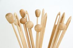 Giant wood needle  round pin  long round pin / Set by MonoculoShop