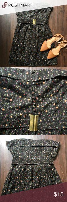 Floral Strapless Dress Black So sweet for summer! New and never worn. Removable elastic belt. Forever 21 Dresses Strapless