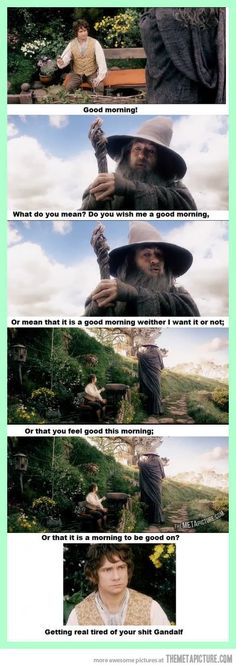 Gandalf being Gandalf… I'm sorry. This is funny also sums up how i feel about mornings