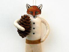 Fox Spun Cotton Holiday Ornament - Handmade Christmas Tree Ornament - Made to Order. $35.00, via Etsy.